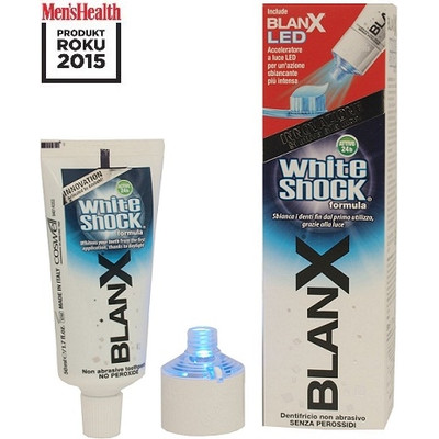 Blanx White Shock Wybielająca pasta do zębów 50ml + Nasadka LED Produkt Roku Men\'s Health