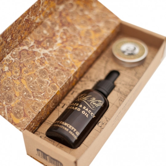 Captain Fawcett edycja Ricki Hall Booze & Baccy Zestaw olejek do brody i wosk do wąsów