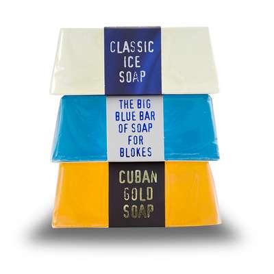 Bluebeards Zestaw 3 kąpielowych mydeł glicerynowych: klasyczne, Ice, Cuban blend 3x175g