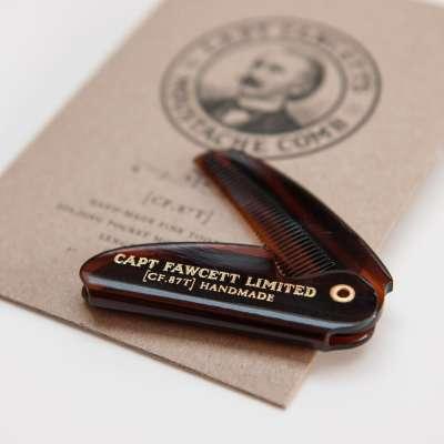 Captain Fawcett Folding Pocket Moustache Comb (CF.87T) - ręcznie robiony składany grzebień do wąsów