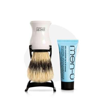 men-u Barbiere zestaw biały pędzel + stojak + mini krem do golenia 15ml