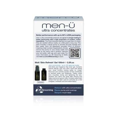 men-u refill kit - odświeżający żel matujący zestaw 2x100 ml