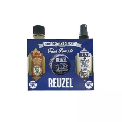 Reuzel Zestaw Try Me Kit Fiber - szampon, fiber pomade i clay spray