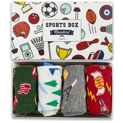 Moustard London - Sport Socks Box - Zestaw prezentowy 4 pary skarpetek