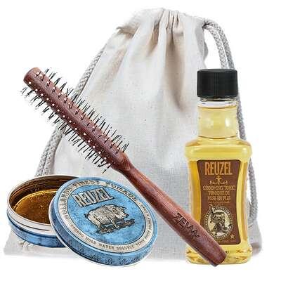 [Zestaw] Reuzel Blue Wodna pomada do włosów wysoki połysk mocne utrwalenie 35g + Reuzel Grooming Tonic do układania i zwiększania objętości włosów 100ml + ZEW Roller do włosów