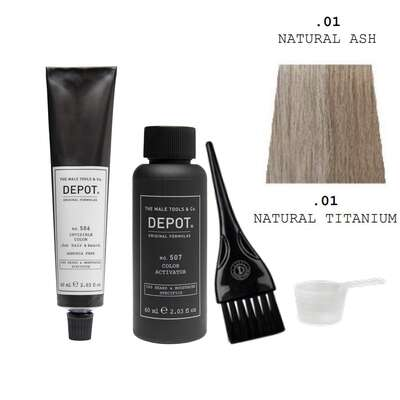 Depot 506 Zestaw do odsiwiania brody i włosów - kolor naturalny tytanowy - 60ml