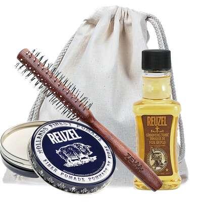 Zestaw do stylizacji włosów - Reuzel Grooming Tonic, Reuzel Fiber Pomade, ZEW Roller