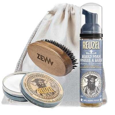 [Zestaw] Reuzel Balsam do brody męski zapach drewna 35g + Reuzel Beard Foam odżywka do brody w piance 70ml + ZEW Mały bukowy kartacz do brody naturalne włosie dzika