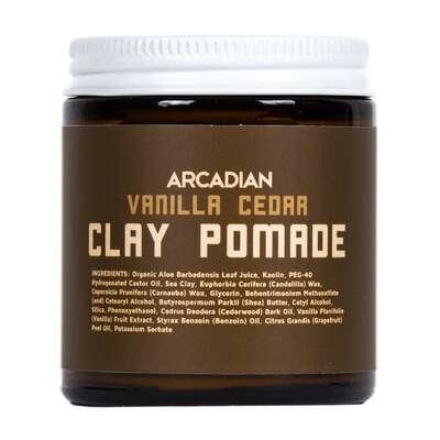 Arcadian - Vanilla Cedar Clay Pomade - Kremowa pomada o matowym wykończeniu połysku i mocnym chwycie 115g