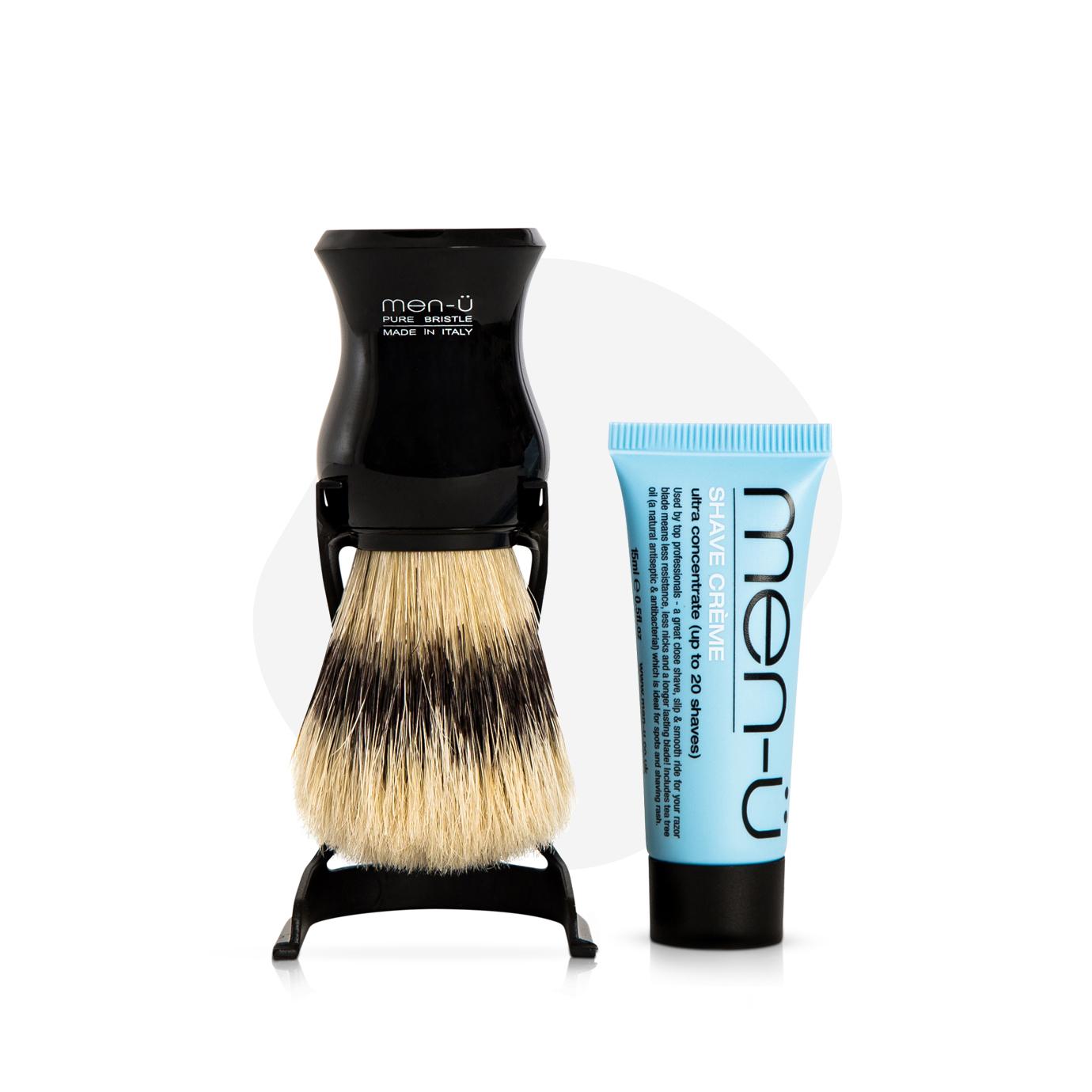 men-u Barbiere zestaw pędzel + stojak + mini krem do golenia 15ml