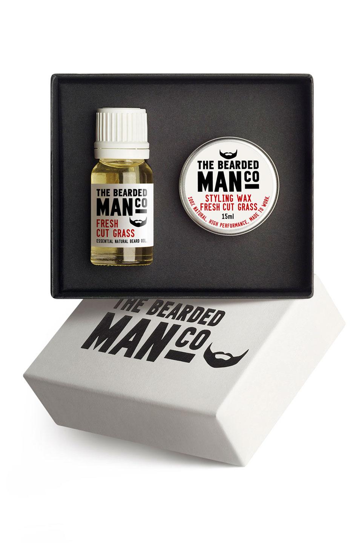 Bearded Man Co - Zestaw: Olejek do brody i wosk do wąsów zapach świeżo ściętej trawy - Fresh cut grass