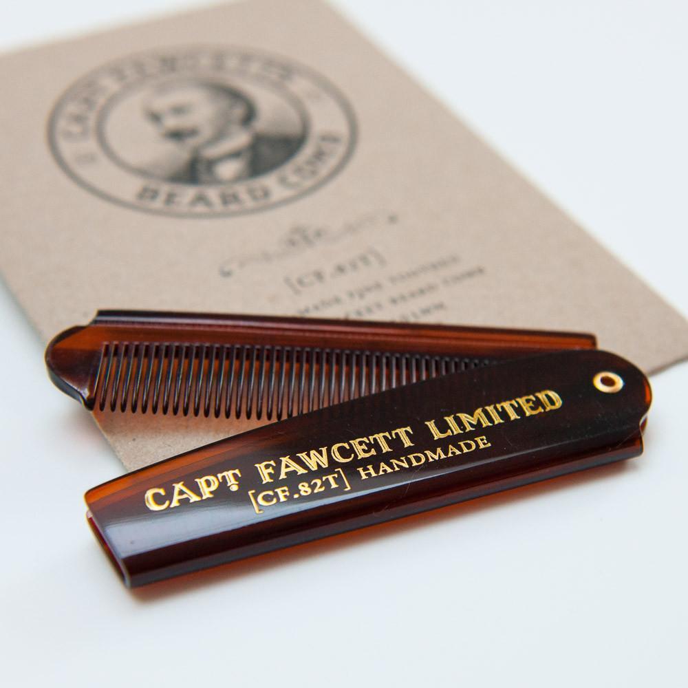 Captain Fawcett Folding Pocket Beard Comb (CF.82T) - ręcznie robiony składany grzebień do brody