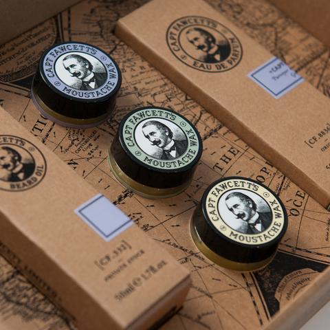 Captain Fawcett Zestaw prezentowy - perfum, olejek, 3 woski do wąsów