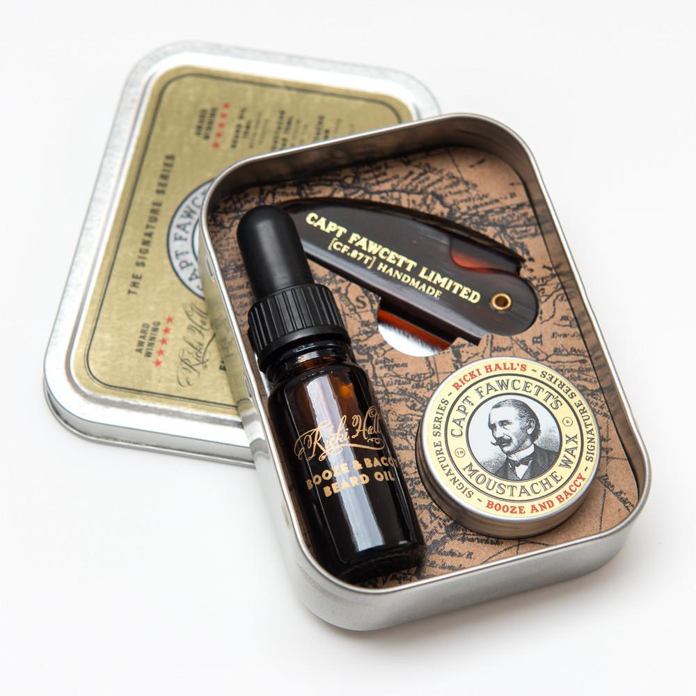 Captain Fawcett Ricki Hall Booze & Baccy Grooming Survival Kit - zestaw prezentowy olejek, wosk i grzebień