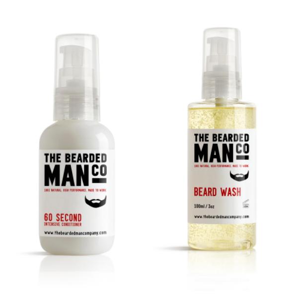[Zestaw] Bearded Man Co - Odżywczy szampon nawilżający do brody i wąsów 100ml + Bearded Man Co - Naprawcza odżywka do brody w 60 sekund 50ml