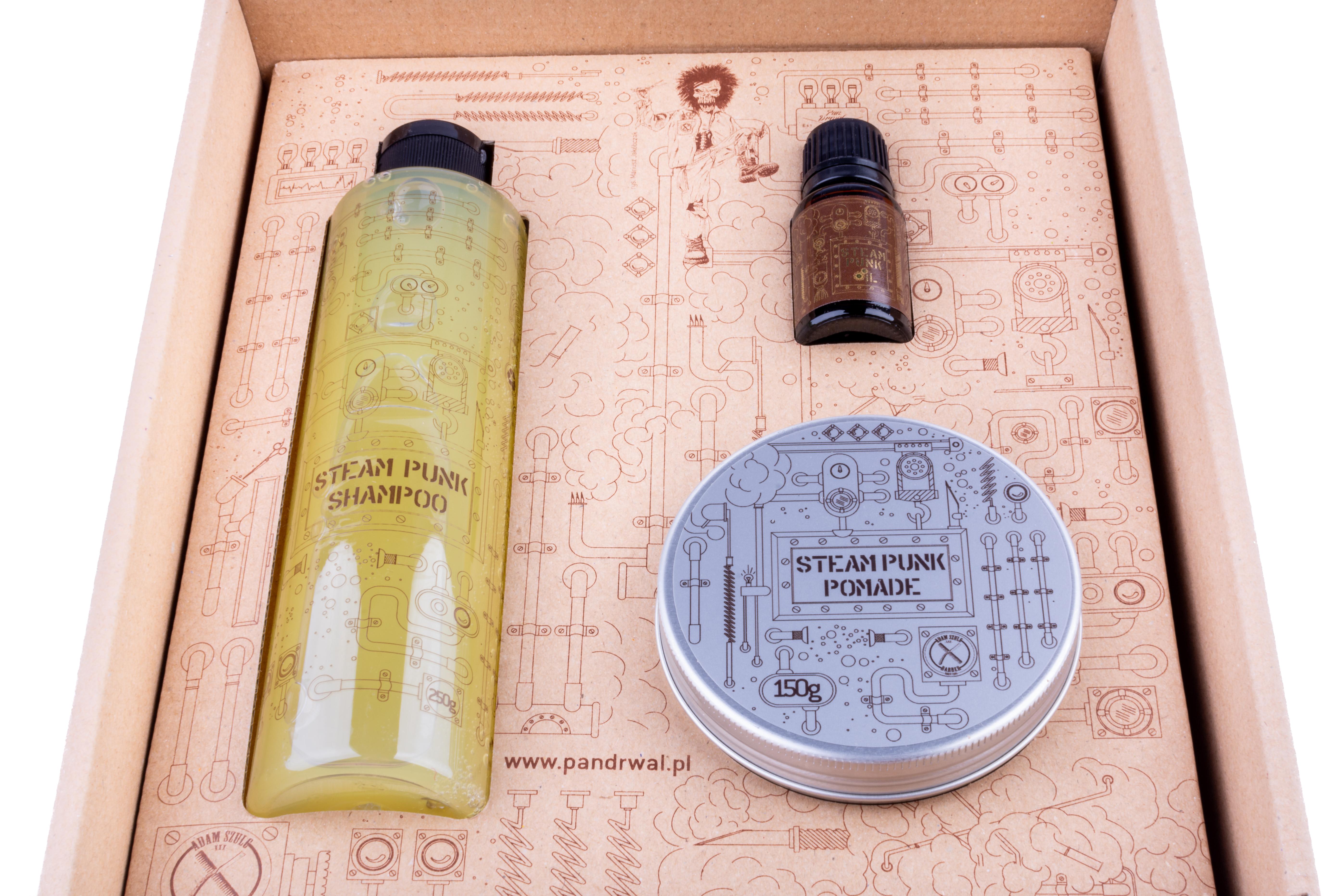 Pan Drwal Zestaw Gift box Steam Punk - pomada, szampon, olejek