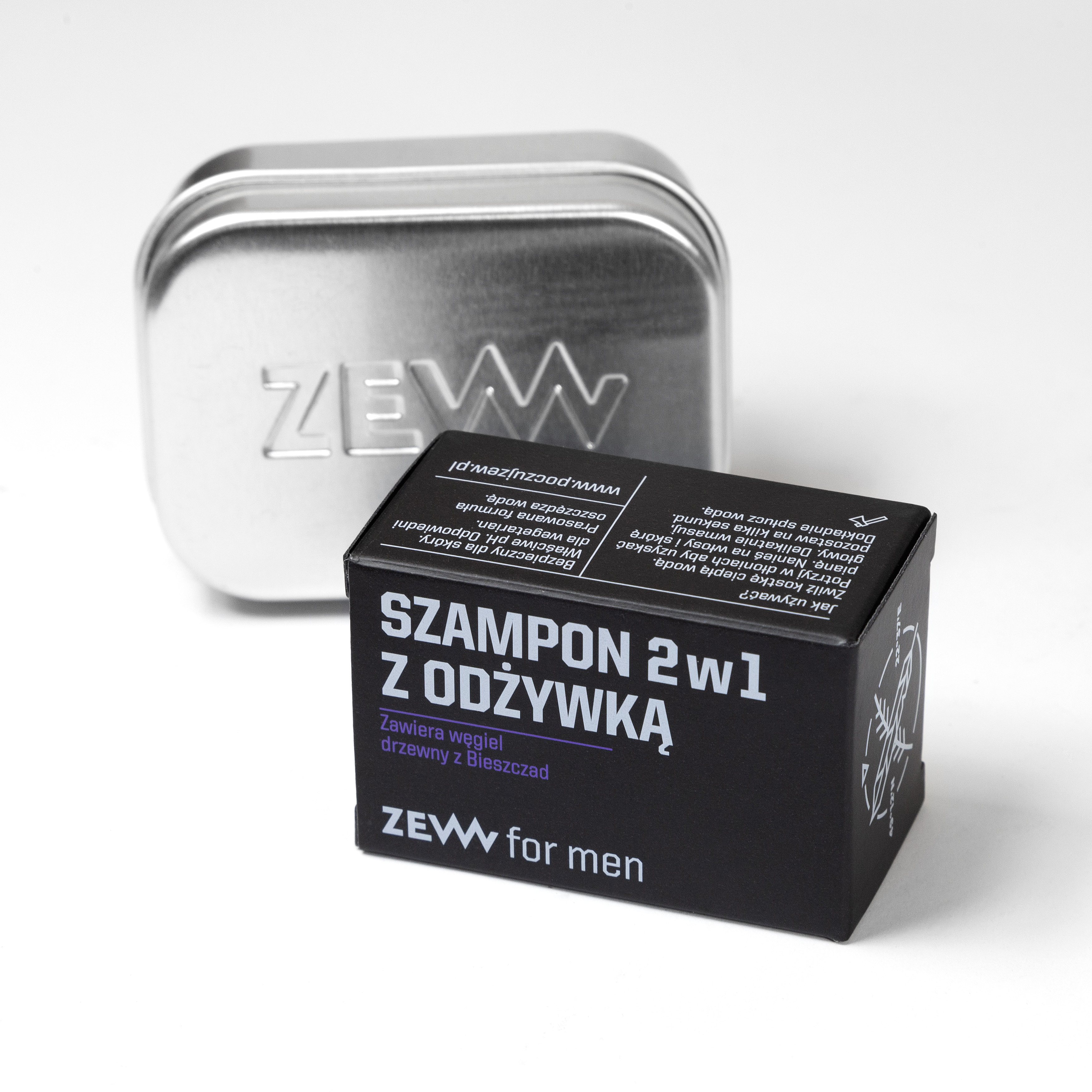 ZEW męski szampon w kostce do mycia włosów z węglem drzewnym 85ml (1)