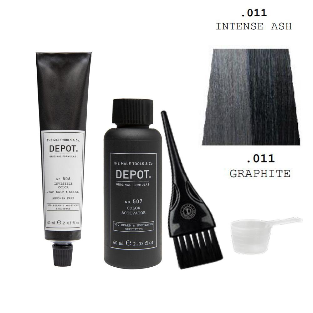 Depot 506 Zestaw do odsiwiania brody i włosów - kolor intensywny grafitowy - 60ml