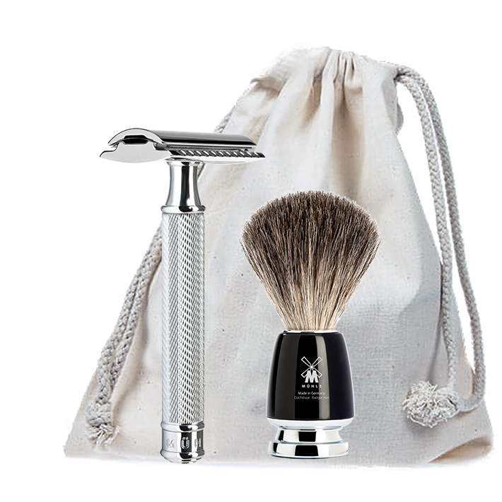 [Zestaw] Muhle Męski pędzel do golenia RYTMO Black z włosia borsuka czarny (81M226) + MUHLE R89 maszynka do golenia na żyletki
