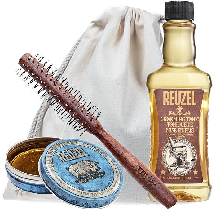 [Zestaw] Reuzel Blue Wodna pomada do włosów wysoki połysk mocne utrwalenie 113g + Reuzel Grooming Tonic do układania i zwiększania objętości włosów 350ml + ZEW Roller do włosów
