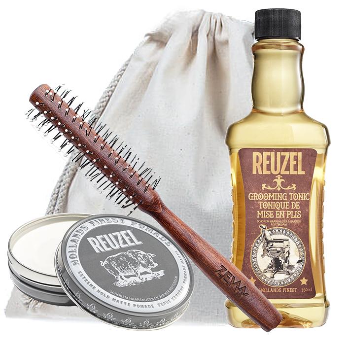 [Zestaw] Reuzel Extreme Hold Matt Pomade mocny chwyt/matowe wykończenie 113g + Reuzel Grooming Tonic do układania i zwiększania objętości włosów 350ml + ZEW Roller do włosów
