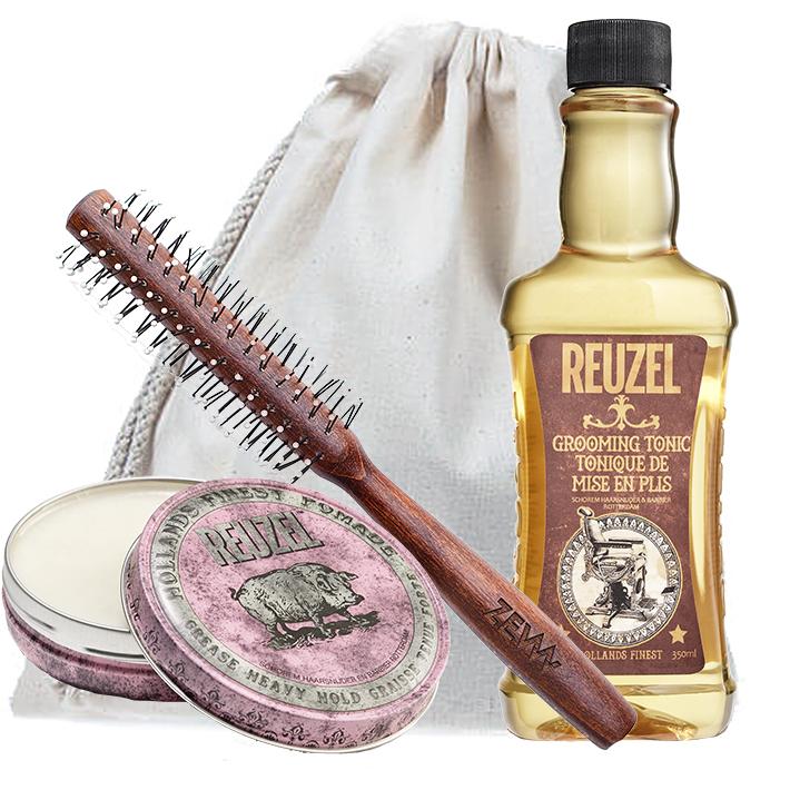 Duży zestaw do stylizacji włosów - Reuzel Grooming Tonic, Reuzel Pink Pomade oraz ZEW Roller