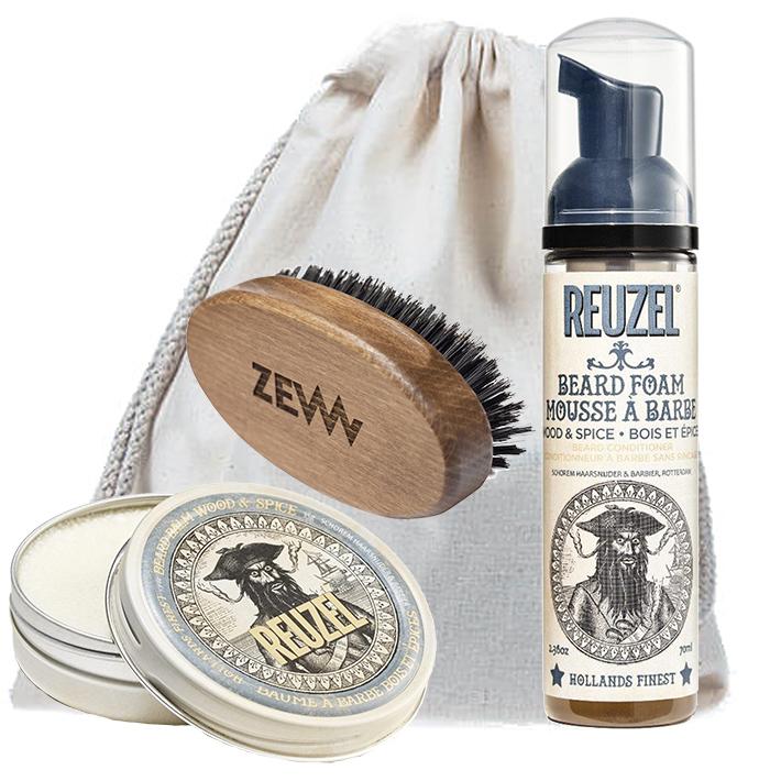 [Zestaw] Reuzel Balsam do brody WOOD & SPICE 35 g + Reuzel Beard Foam Wood & Spice - odżywka do brody w piance 70ml + ZEW Mały bukowy kartacz do brody naturalne włosie dzika
