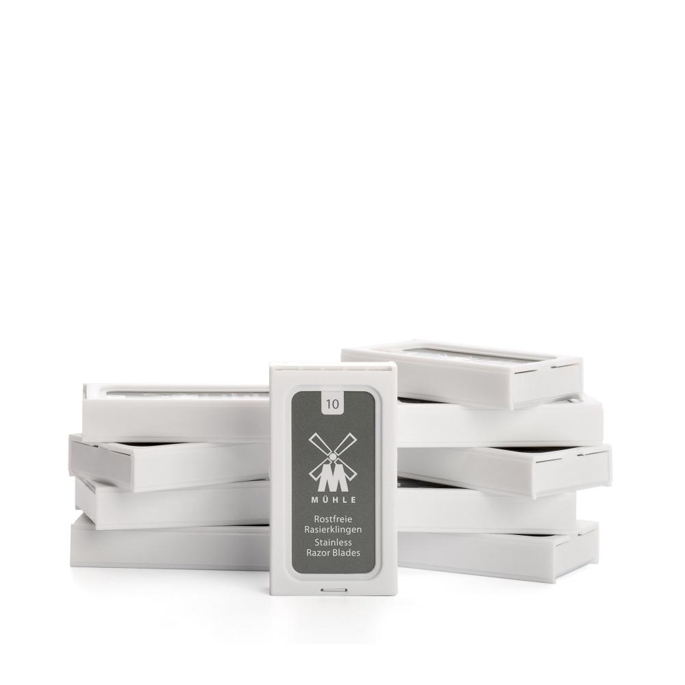 Kompletny zestaw do golenia marki Muhle - Maszynka, pędzel, ręcznik, stojak, żyletki, osłonka na głowię, ałun, krem do golenia i balsam po goleniu